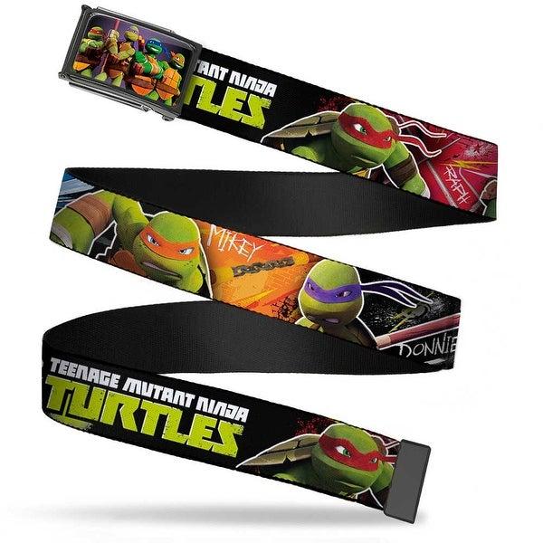Teenage Mutant Ninja Turtles New Series Logo Group Pose Fcg Purple Fade Web Belt