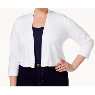 Calvin Klein NEW White Crochet Back Women Size 3X Plus Cardigan Sweater