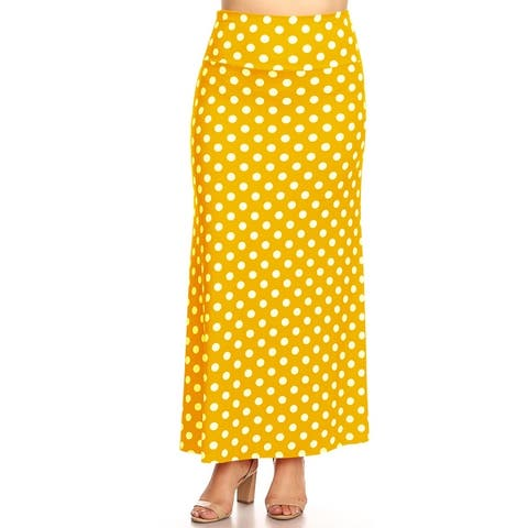 Women's Polka Dot Plus Size Loose Fit Maxi Skirt