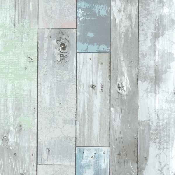 Brewster 2532-20416 Dean Blue Distressed Wood Panel Wallpaper - dean blue distressed wood panel - N/A
