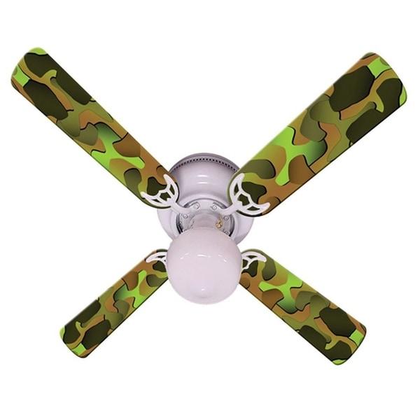 Green Camouflage Print Blades 42in Ceiling Fan Light Kit - Multi