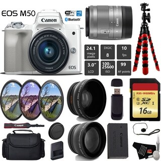 Canon EOS M50 Mirrorless Digital Camera (White) with 15-45mm Lens + Wide Angle & Telephoto Lens + Tripod - Intl Model