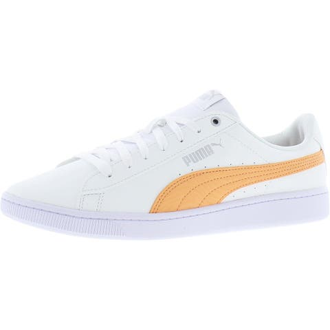 Puma Womens Vikky v2 ZB Skate Shoes Faux Leather Embossed - Puma White/Canteloupe/Silver