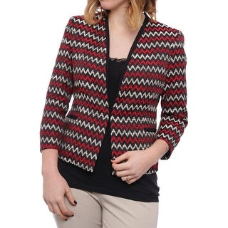 Kasper Chevron-Print Tweed Hook and Eye Jacket Basic Jacket