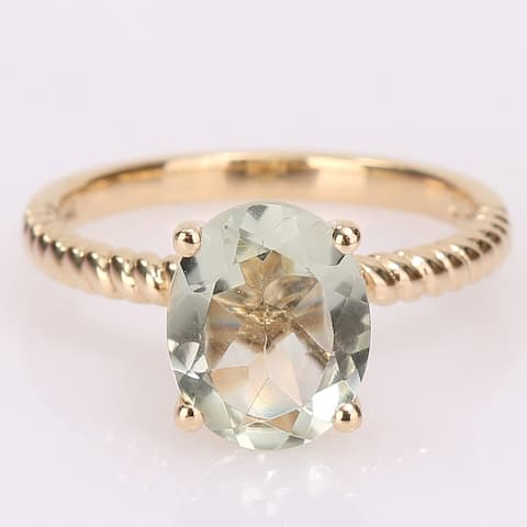 Oval-Cut Green Amethyst Solitaire Twist Ring in 14k Yellow Gold by Miadora