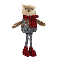 "9"" Alpine Chic Brown Stuffed Fox in Black and White Overall Shorts Christmas Ornament"