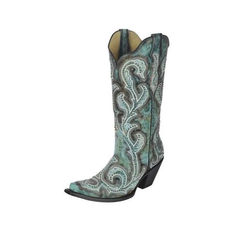 Corral Western Boot Women Shaded Embroidery Pull On Turquoise