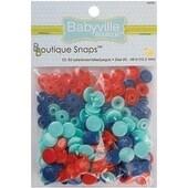 Solid - Red; Blue & Light Blue - Babyville Boutique Snaps Size 20 60/Pkg