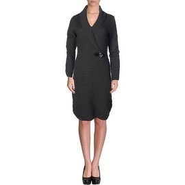 Calvin Klein Womens Long Sleeves Knee-Length Sweaterdress