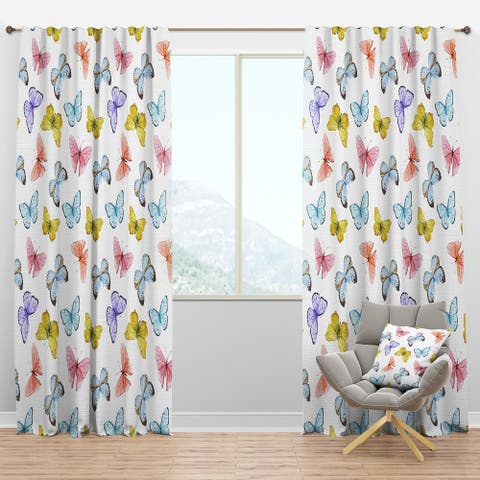 Designart 'Watercolor Butterfly Pattern' Traditional Blackout Curtain Panel