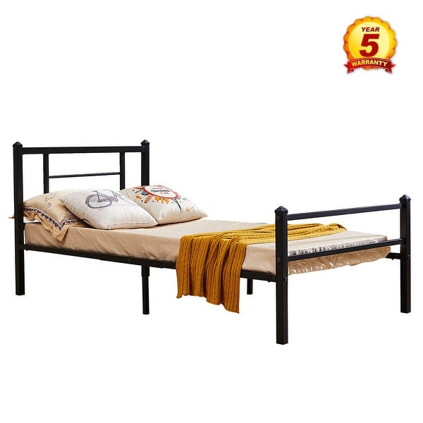 Shop Mcombo Black Metal Bed Frame with Headboard and Footboard,Twin ...