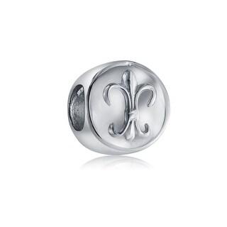 Fleur De Lis Flower Charm Sterling Silver Love Bead for European Bracelet