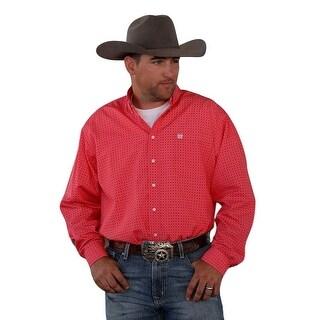 Cinch Western Shirt Mens Long Sleeve Print Weave Button Red