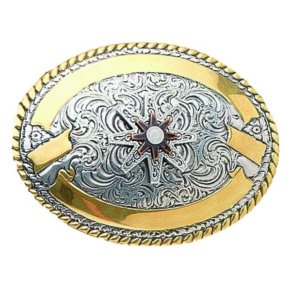 Crumrine Western Belt Buckle Womens Spur Rowel Gold Silver - 3 1/2 x 2 3/4