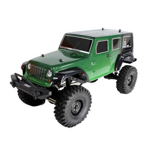 ALEKO Rock Crawler Off-Road 4WD Electric 1:10 Scale RC Jeep Green - 20.6 x 9 x 9.4 inches