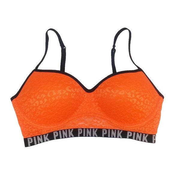 262bf1dd46 Shop Victoria s Secret Pink Animal Lace Push-Up Bralette Logo Bra Neon  Orange L A-C - Large - Free Shipping On Orders Over  45 - Overstock -  16381666