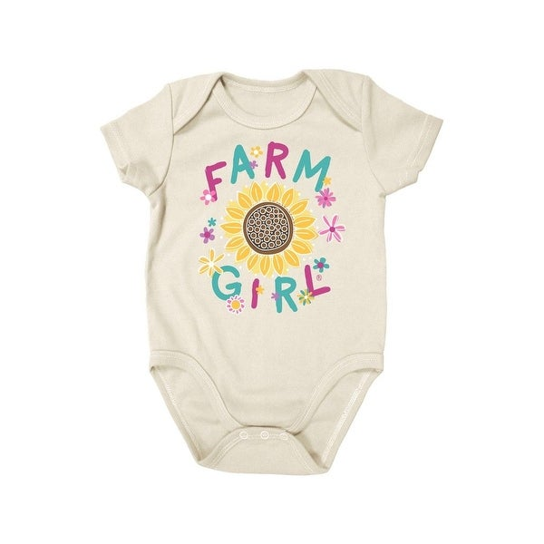 Farm Girl Western Shirt Girls Sunflower Creeper S/S Ivory