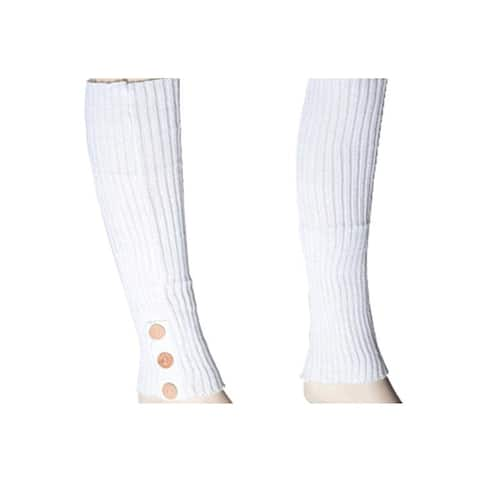 Women's Ivory Solid Color Knit Leg Warmer w/ Button Accents LW1000