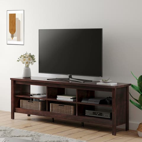 "Farmhouse Wood TV Stands for 75"" Flat Screen,Walnut - 73 inches"