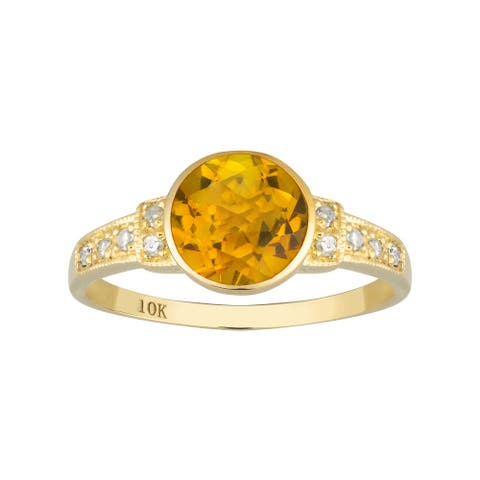 Viducci 10k Yellow Gold Vintage Style Genuine Round Citrine and Diamond Ring