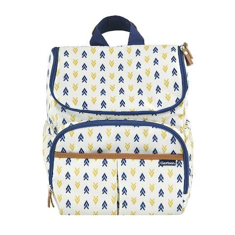 Gerber Childrenswear Diaper Bag Backpack, Insulated Side Pockets, Loop Fasteners - Blue and Yellow on White