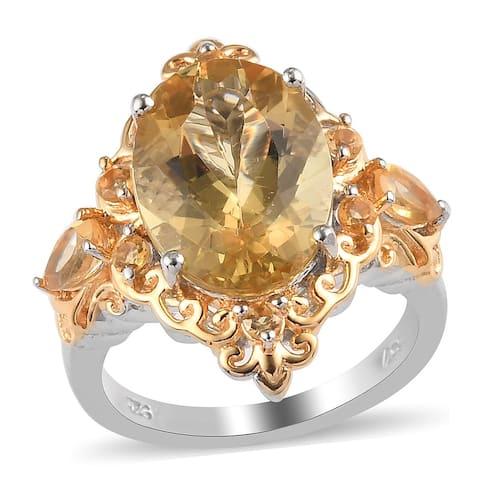 Shop LC 925 Silver Labradorite Citrine Ring Ct 5.6