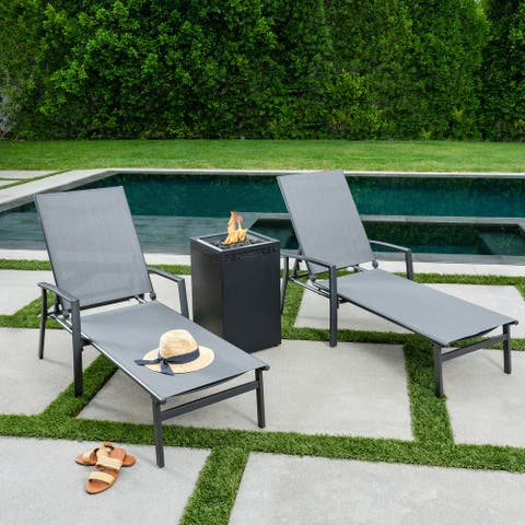 Hanover Naples 3-Piece Sling Lounge Set featuring a 40,000 BTU Column Fire Pit, Gray Frame / Gray Sling