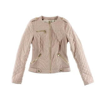 Guess Womens Skye Faux Leather Snake Print Motorcycle Jacket - S