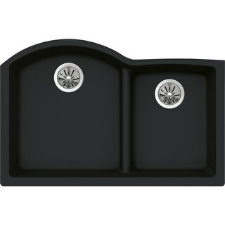 "Elkay ELXHU3322R Quartz Luxe 33"" Double Basin Kitchen Sink for Undermount Installation with Aqua Divide"
