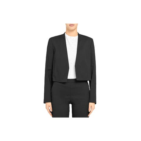 Theory Womens Collarless Blazer Linen Suit Separate - Black