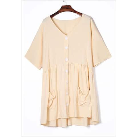 New Solid Color Short-Sleeved V-Neck Loose Large Size Dress