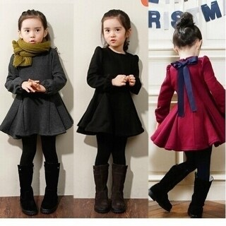 Girl dresses Spring Kids girls bow dress solid color long-sleeved dress