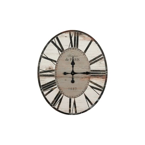"29"" Oval Distressed Wood Wall Clock"