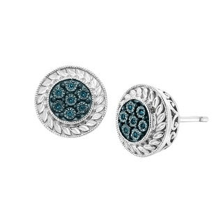 Halo Stud Earrings with Blue Diamonds in Sterling Silver