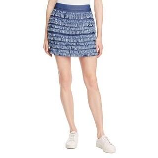 Ella Moss Womens Mini Skirt Tiered Fringe