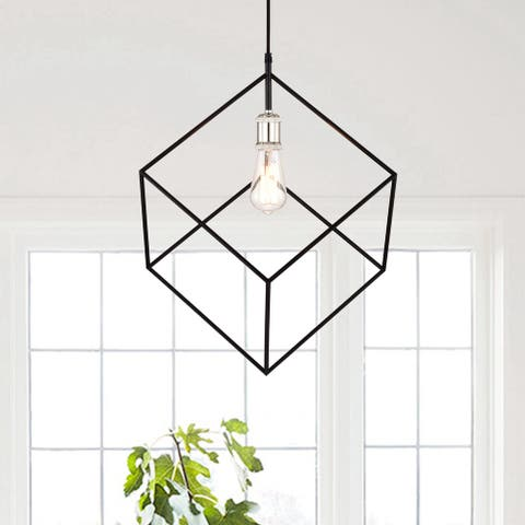 "1-Light Chrome and Matte Black Geometry Mini Pendant - W16-3/4"" x E 19-1/4"" x H84"""