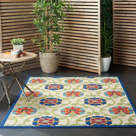 Lanikai Indoor/ Outdoor Contemporary Floral Rug by Havenside Home