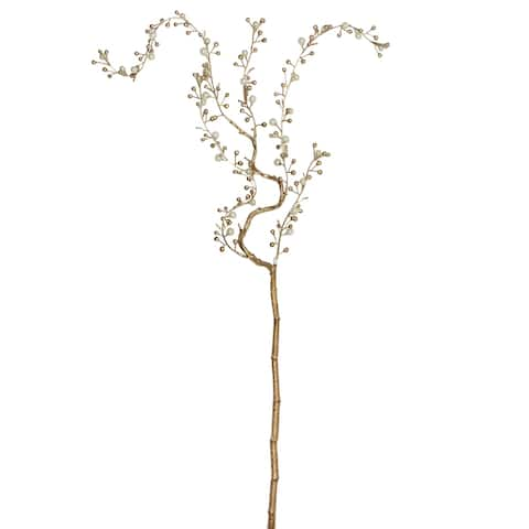 "39"" Gold and White Willow Pearl Artificial Branch Spray"
