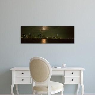 Easy Art Prints Panoramic Image 'Skyscrapers lit up at night, Coronado Bridge, San Diego, California, USA' Canvas Art