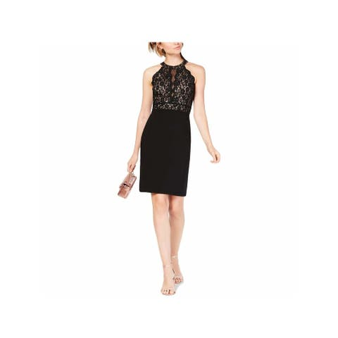 MORGAN & CO Womens Black Floral Sleeveless Halter Above The Knee Shift Party Dress Juniors Size: 3