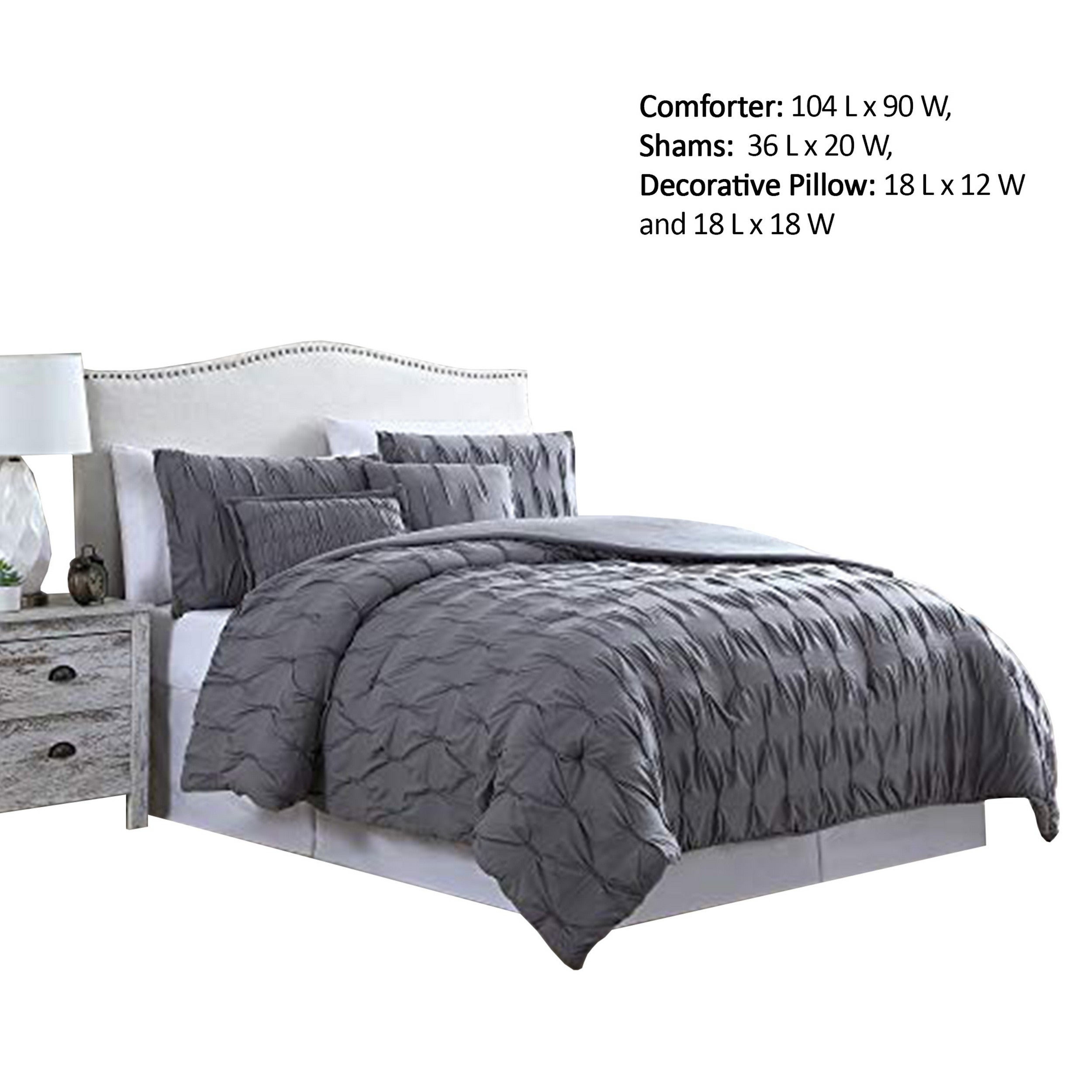 Bergen 5 Piece King Comforter Set With Puckered Pattern The Urban Port Charcoal Gray On Sale Overstock 32275989