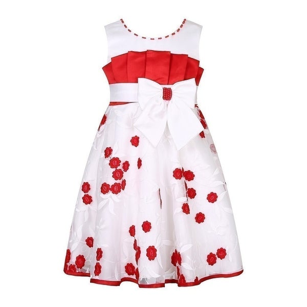 285920427 Shop Richie House Little Girls White Red Flowers Pleats Bow Flower Girl  Dress - Free Shipping On Orders Over $45 - Overstock - 18166992