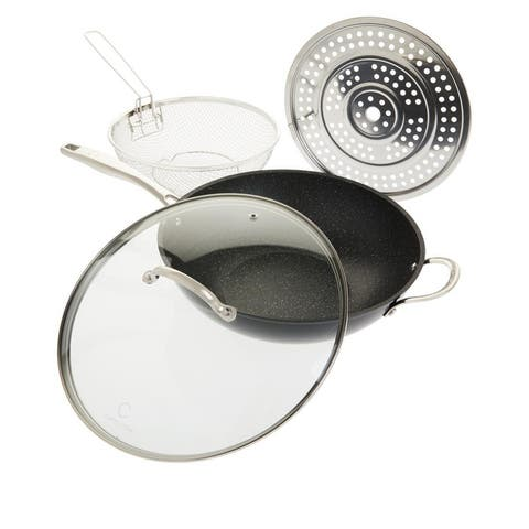 Curtis Stone Dura-Pan 5-Quart 4-piece Nonstick Chef's Skillet Set Model 638479