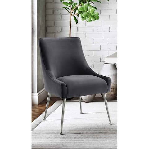 Beatrix Handmade Grey Velvet Curved Side Chair