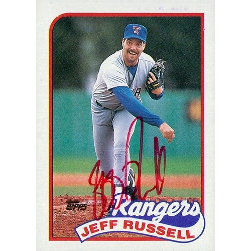 Signed Russell Jeff Texas Rangers 1989 Topps Baseball Card Autographed