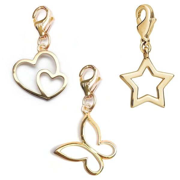 Julieta Jewelry Butterfly, Double Heart, Star 14k Gold Over Sterling Silver Clip-On Charm Set