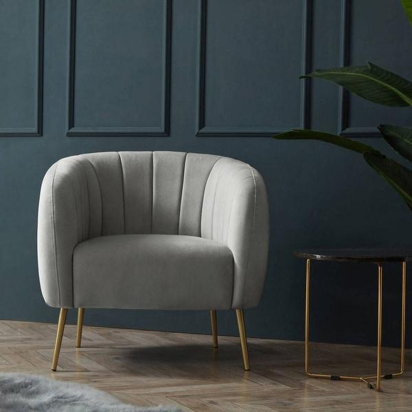 Silver Orchid Burbridge Velvet Channel Accent Chair. Opens flyout.