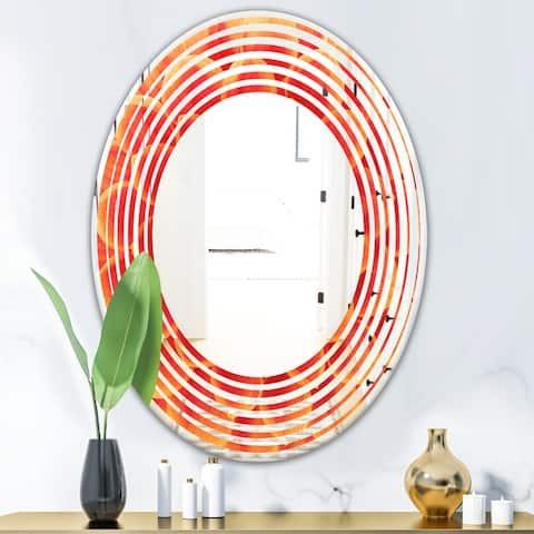 Designart 'Abstract Orange Flower Design' Modern Round or Oval Wall Mirror - Wave