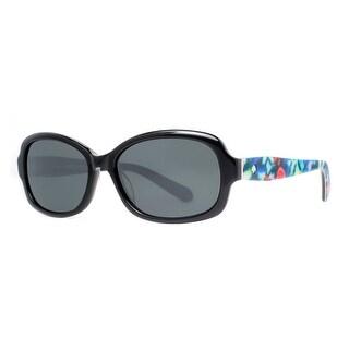 KATE SPADE Oval KS DARYA/S Women's X74P Shiny Black/Floral Gray Sunglasses - 55mm-16mm-135mm