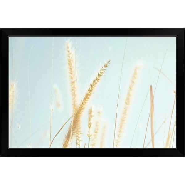 """""""Cattail grass in sunshine."""" Black Framed Print"""